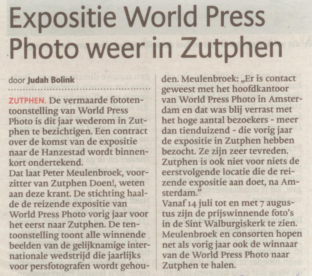 160128 De Stentor Expositie World Press Photo weer in Zutphen