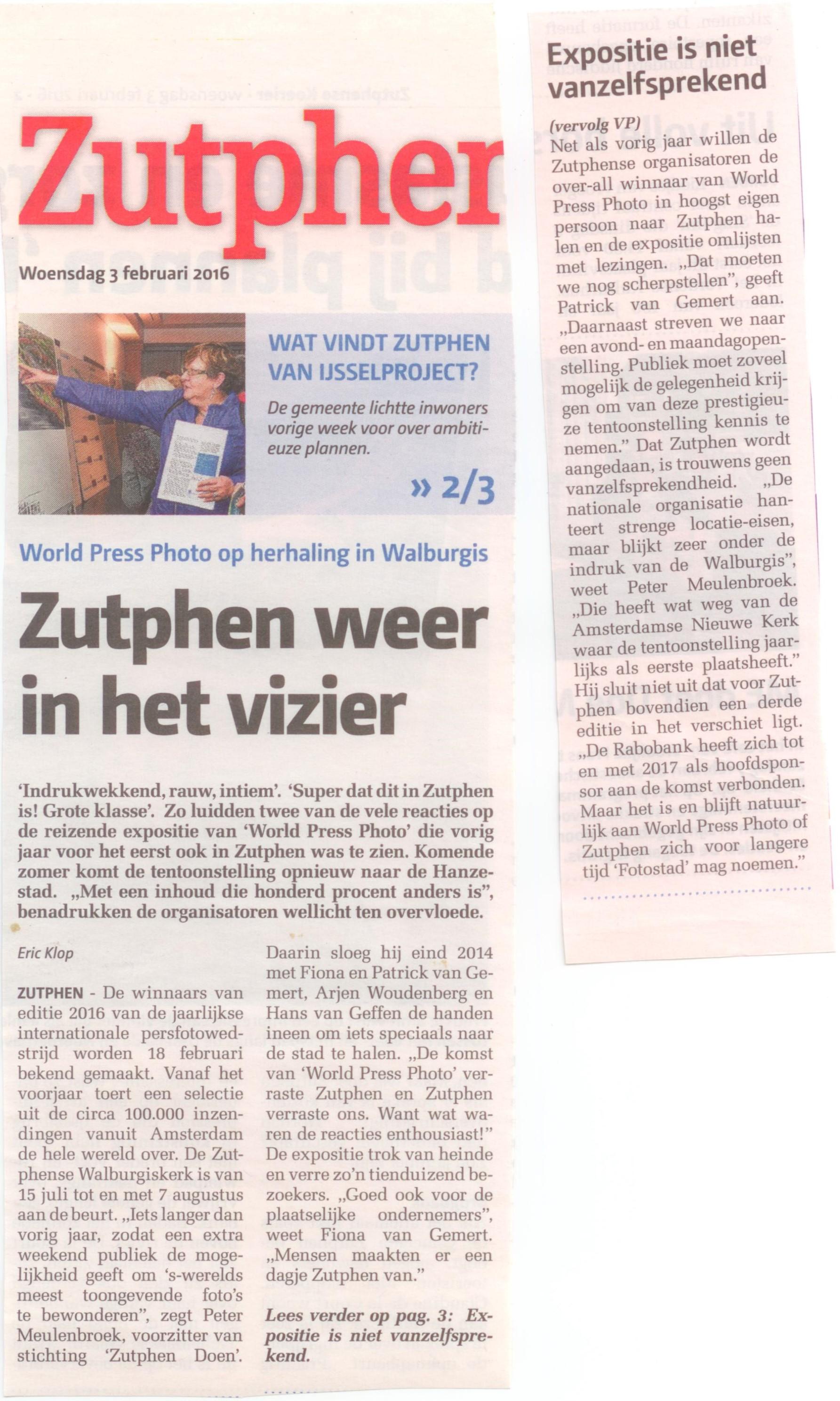 160203 Zutphense Koerier Zutphen weer in het vizier