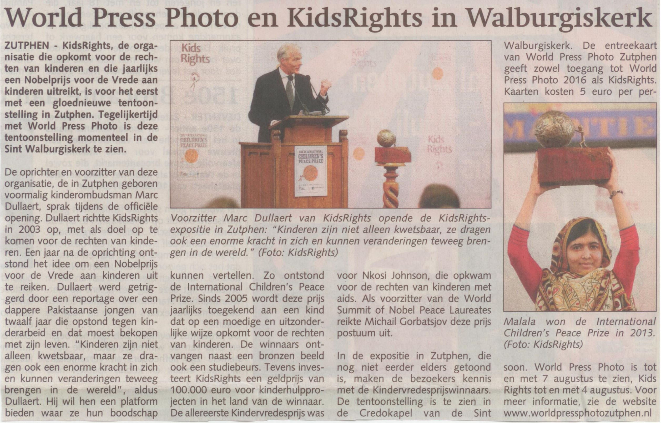 160720 Stedendriehoek World Press Photo en KidsRights in Walburgiskerk