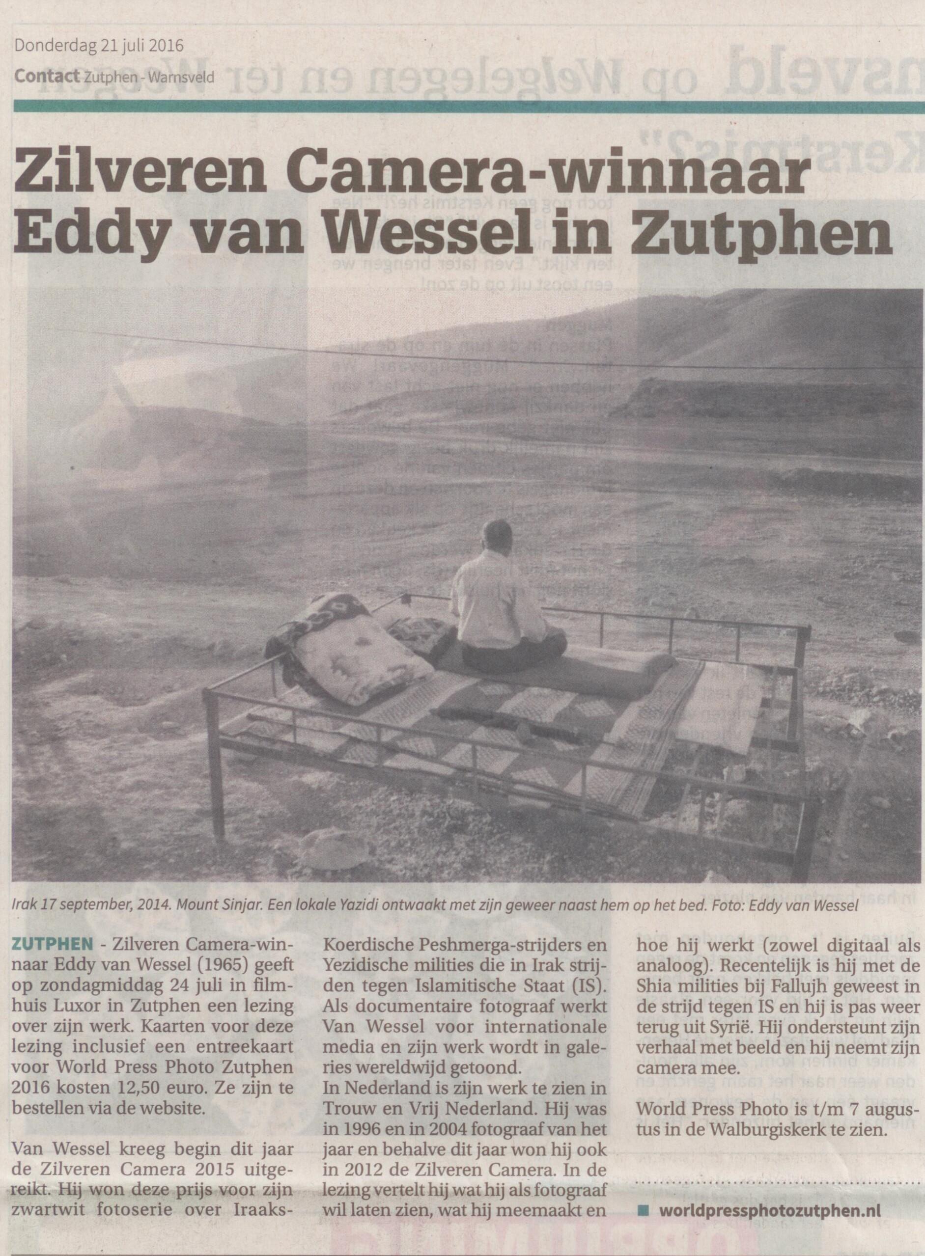 160721 Contact Zilveren Camera-winnaar Eddy van Wessel in Zutphen