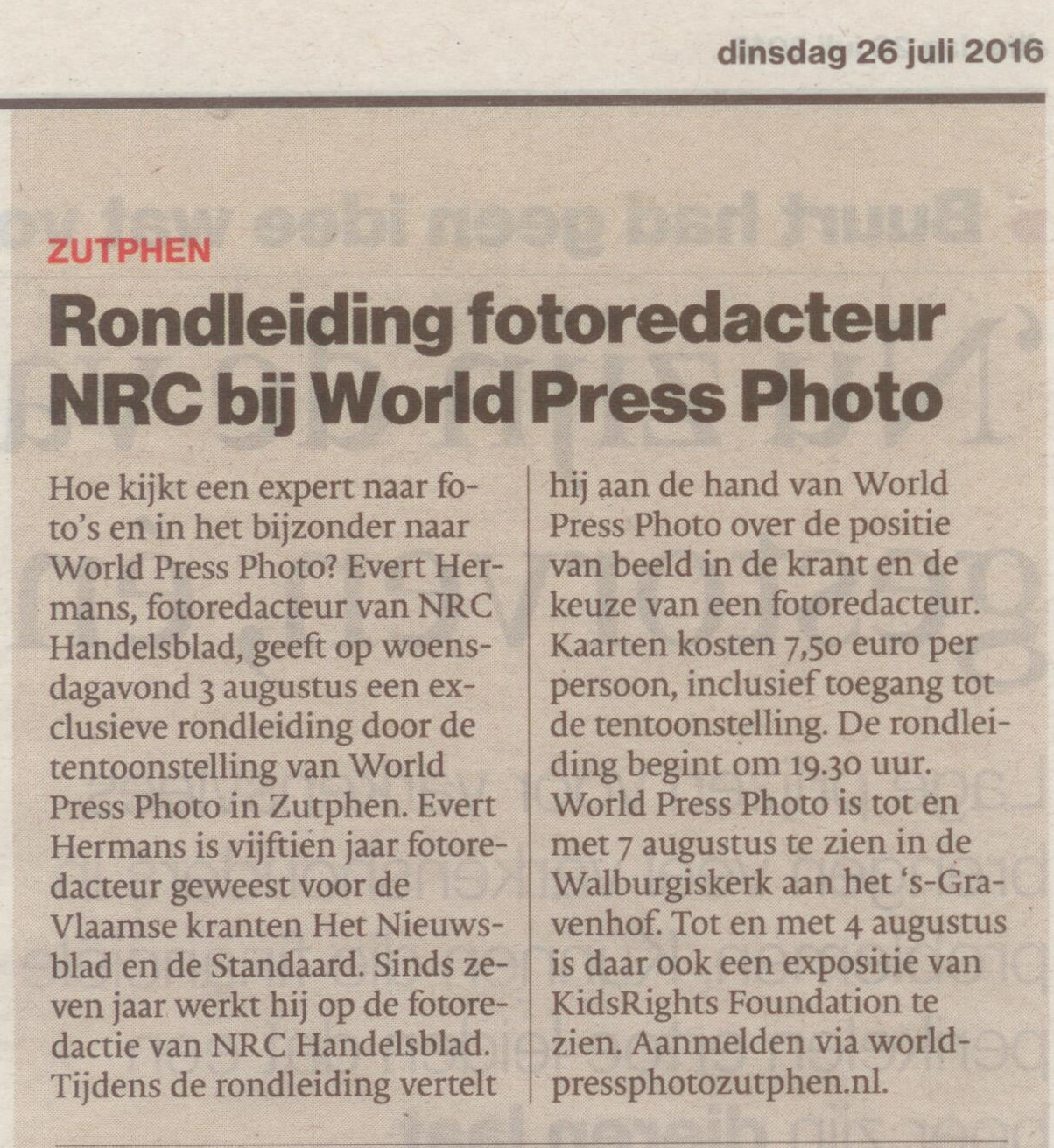 160726 De Stentor Rondleiding fotoredacteur NRC bij World Press Photo