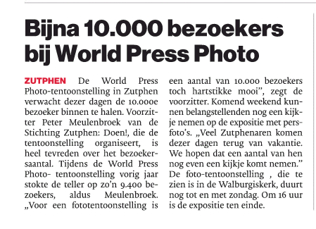 "De Stentor: ""Bijna 10.00 bezoekers bij World Press Photo"""