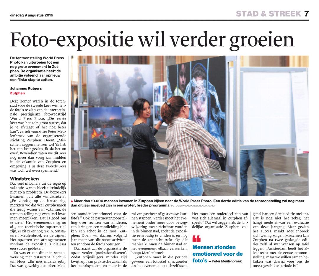 """De Stentor: """"Foto-expositie wil verder groeien"""""""